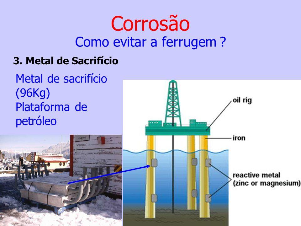 Corrosão Como evitar a ferrugem Metal de sacrifício (96Kg)