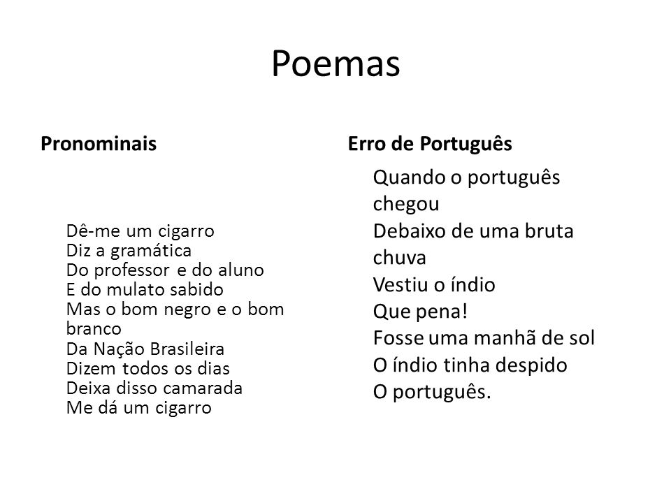 Poemas Pronominais Erro de Português