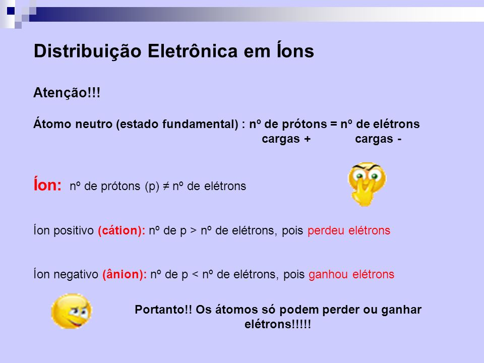 Portanto!! Os átomos só podem perder ou ganhar elétrons!!!!!