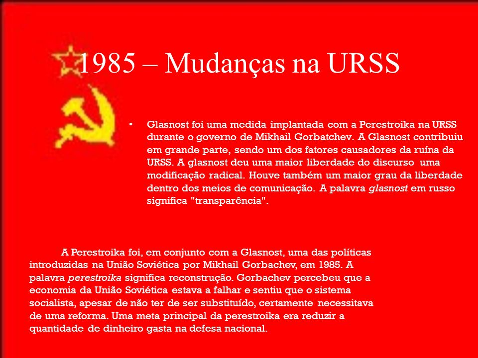 1985 – Mudanças na URSS