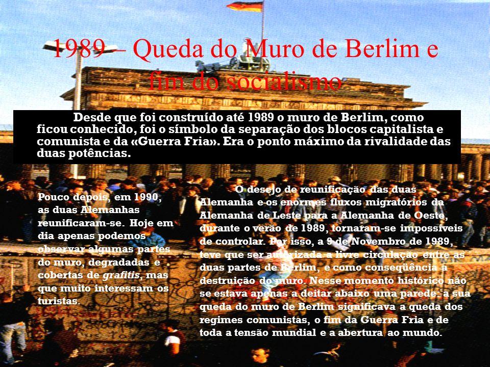 1989 – Queda do Muro de Berlim e fim do socialismo