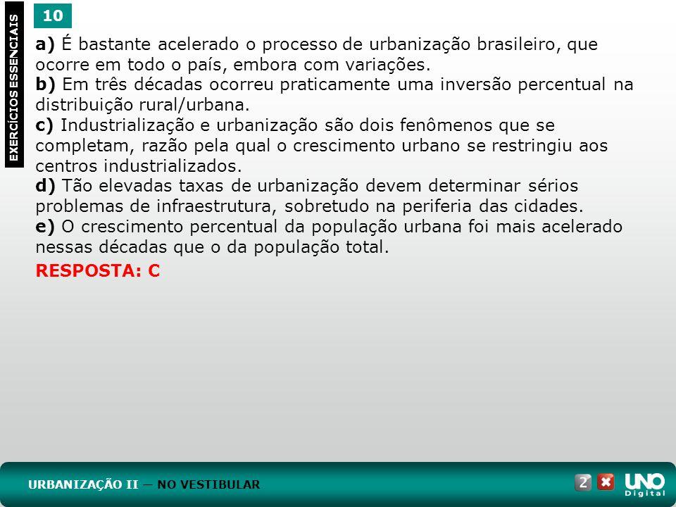 Geo- cad-2-top-7 3 Prova 10. a) É bastante acelerado o processo de urbanização brasileiro, que ocorre em todo o país, embora com variações.