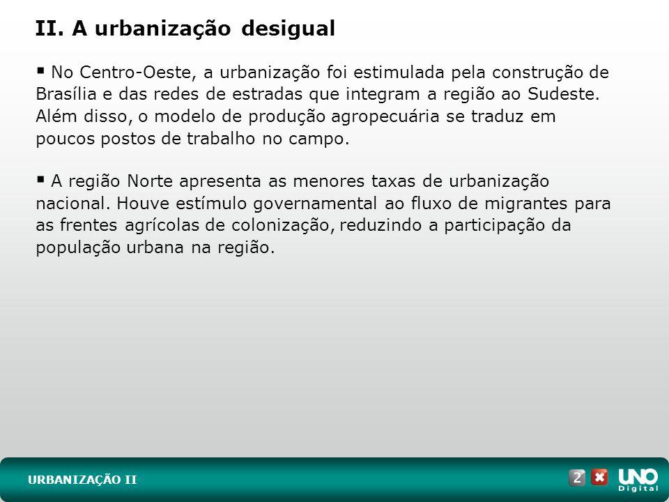 II. A urbanização desigual