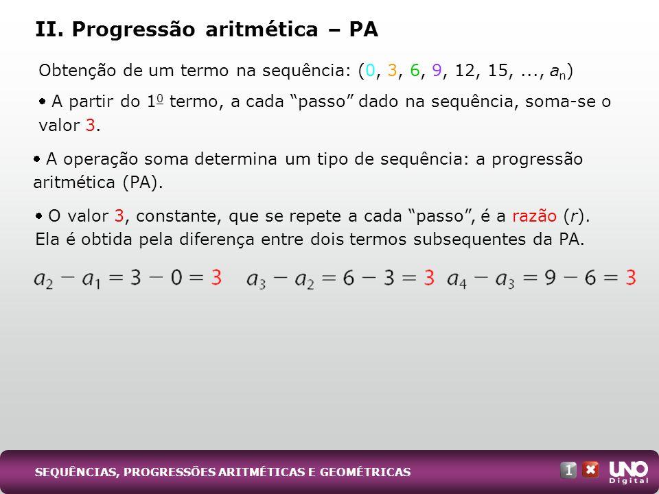 II. Progressão aritmética – PA