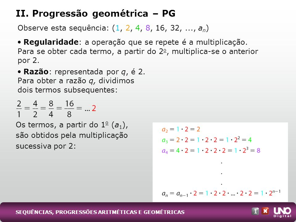 II. Progressão geométrica – PG
