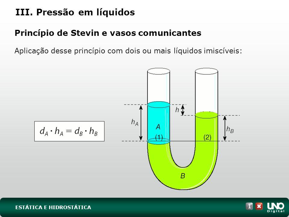 Princípio de Stevin e vasos comunicantes