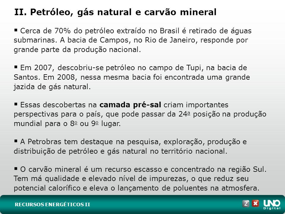II. Petróleo, gás natural e carvão mineral