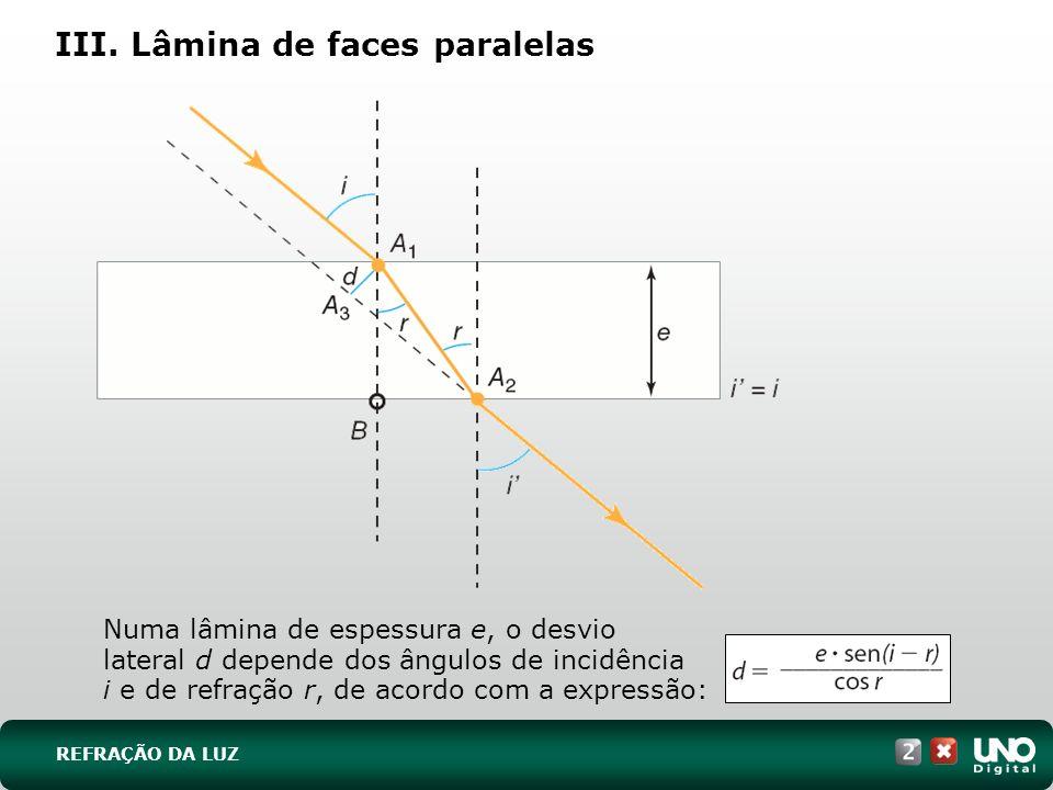 III. Lâmina de faces paralelas