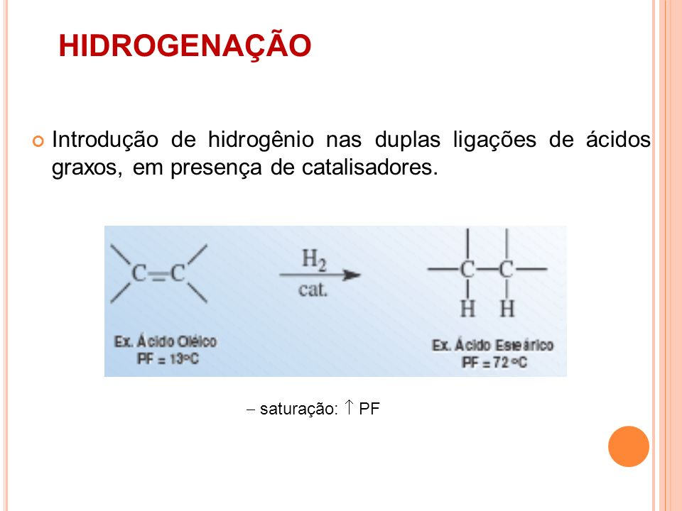 HIDROGENAÇÃO Introdução de hidrogênio nas duplas ligações de ácidos graxos, em presença de catalisadores.