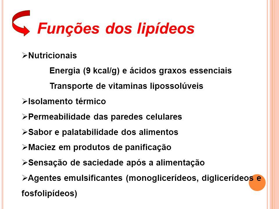 Funções dos lipídeos Nutricionais