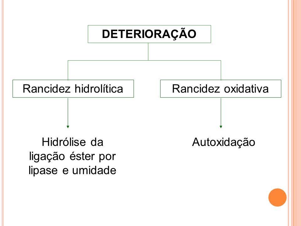 Hidrólise da ligação éster por lipase e umidade
