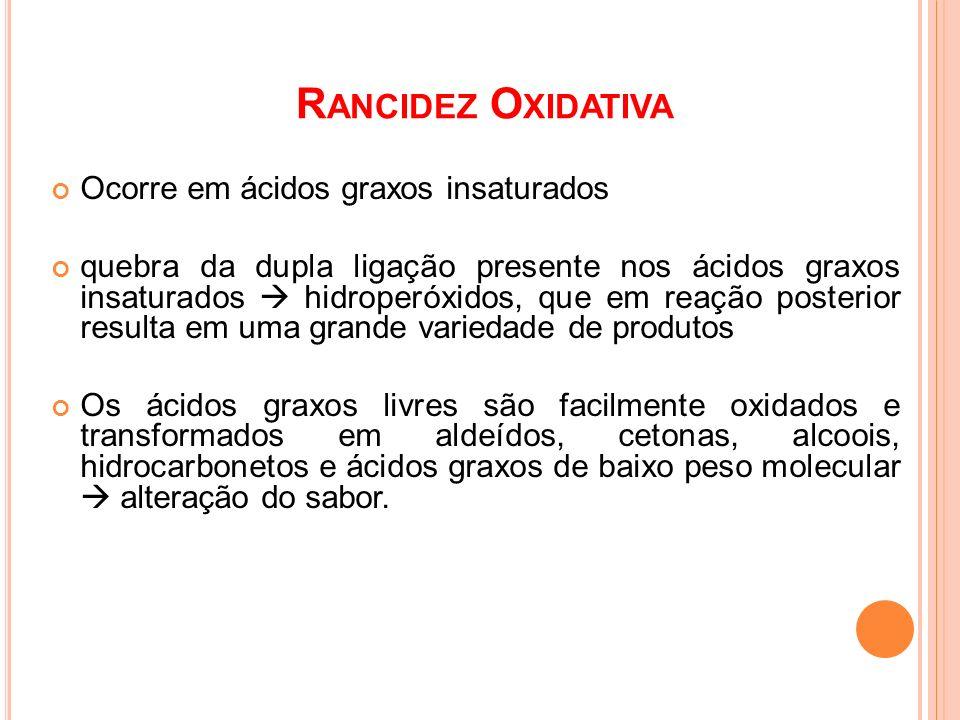 Rancidez Oxidativa Ocorre em ácidos graxos insaturados