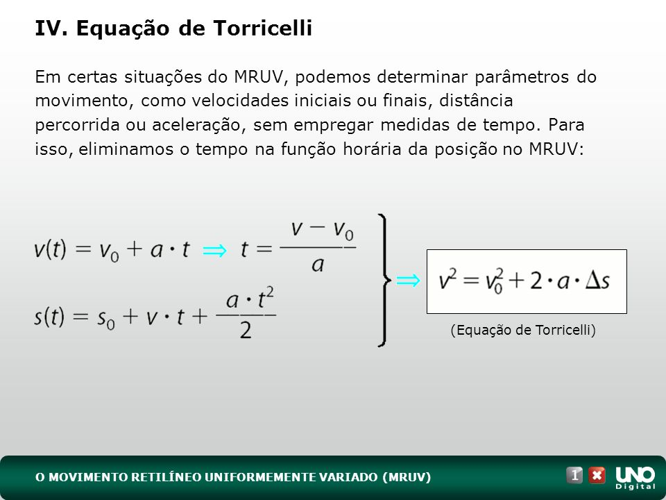 IV. Equação de Torricelli