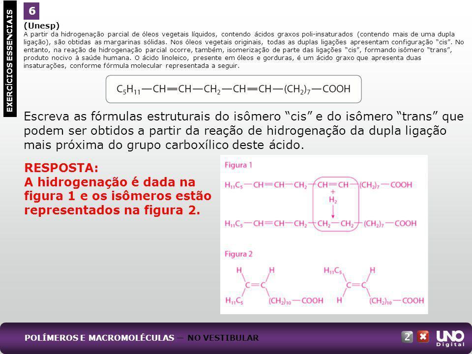 A hidrogenação é dada na figura 1 e os isômeros estão