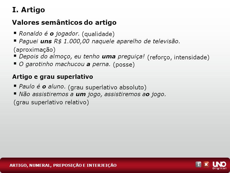 I. Artigo Valores semânticos do artigo Ronaldo é o jogador.