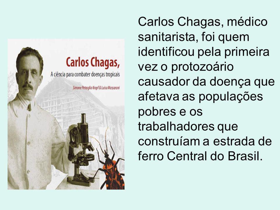 Carlos Chagas, médico sanitarista, foi quem identificou pela primeira vez o protozoário causador da doença que afetava as populações pobres e os trabalhadores que construíam a estrada de ferro Central do Brasil.