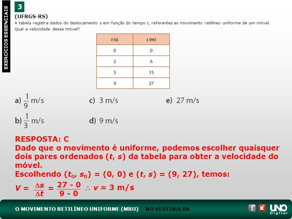 Escolhendo (t0, s0) = (0, 0) e (t, s) = (9, 27), temos: V =