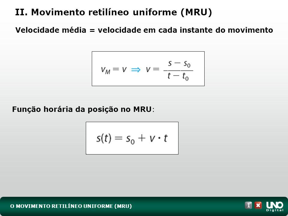 II. Movimento retilíneo uniforme (MRU)