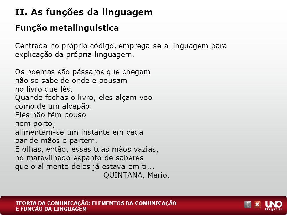 II. As funções da linguagem