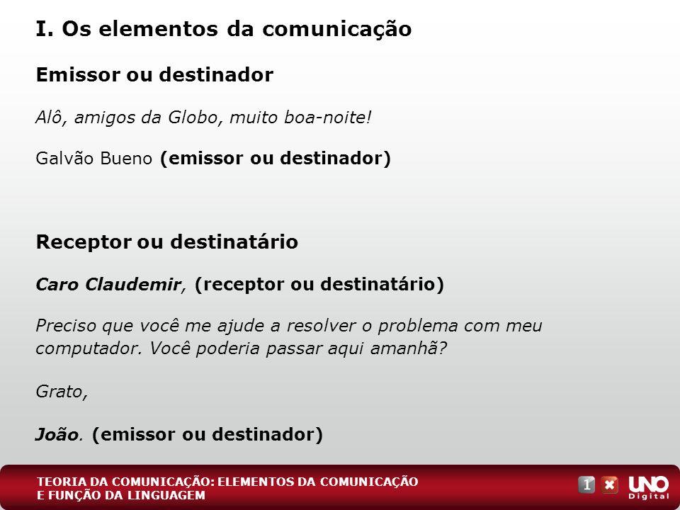 I. Os elementos da comunicação