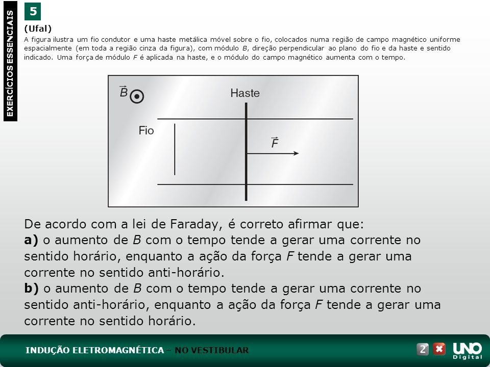 De acordo com a lei de Faraday, é correto afirmar que: