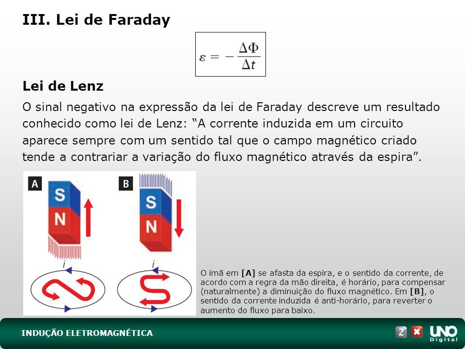III. Lei de Faraday Lei de Lenz