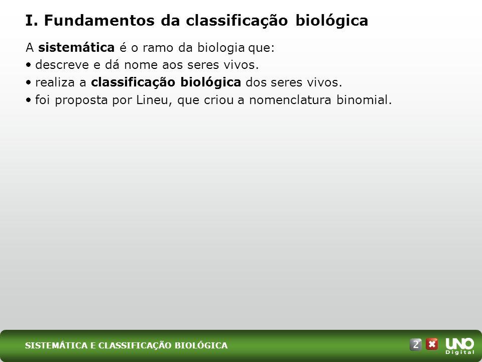 I. Fundamentos da classificação biológica