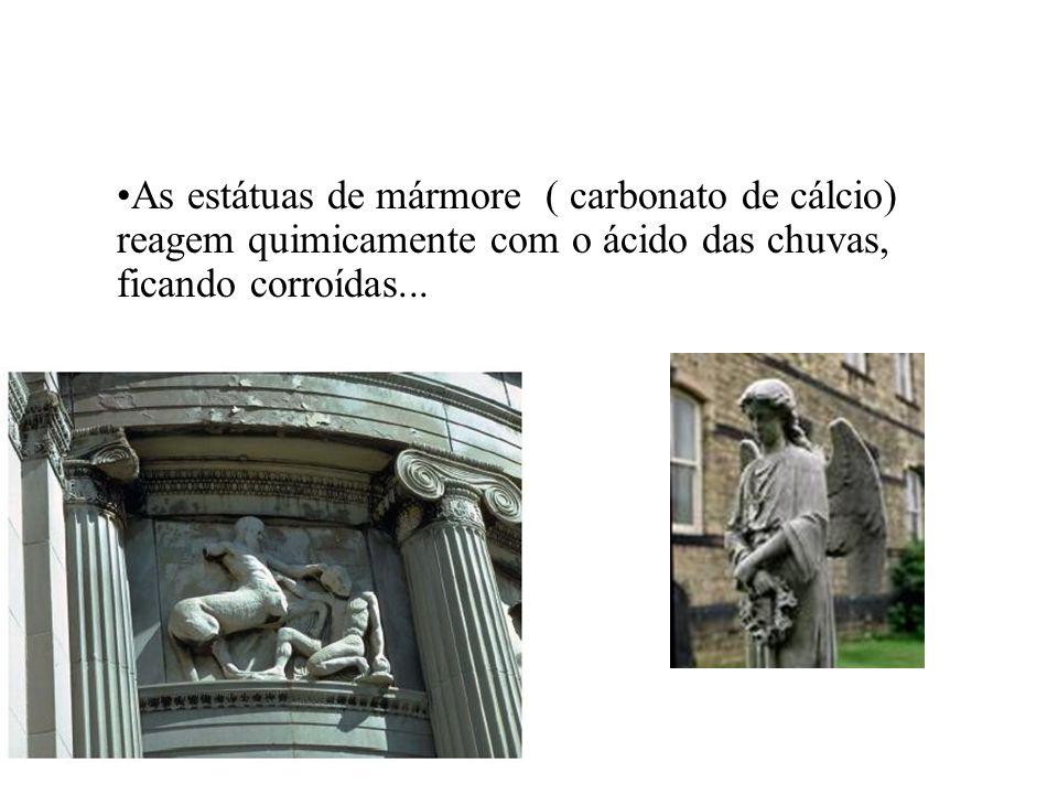 As estátuas de mármore ( carbonato de cálcio) reagem quimicamente com o ácido das chuvas, ficando corroídas...