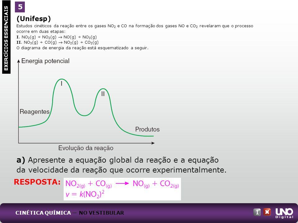 a) Apresente a equação global da reação e a equação