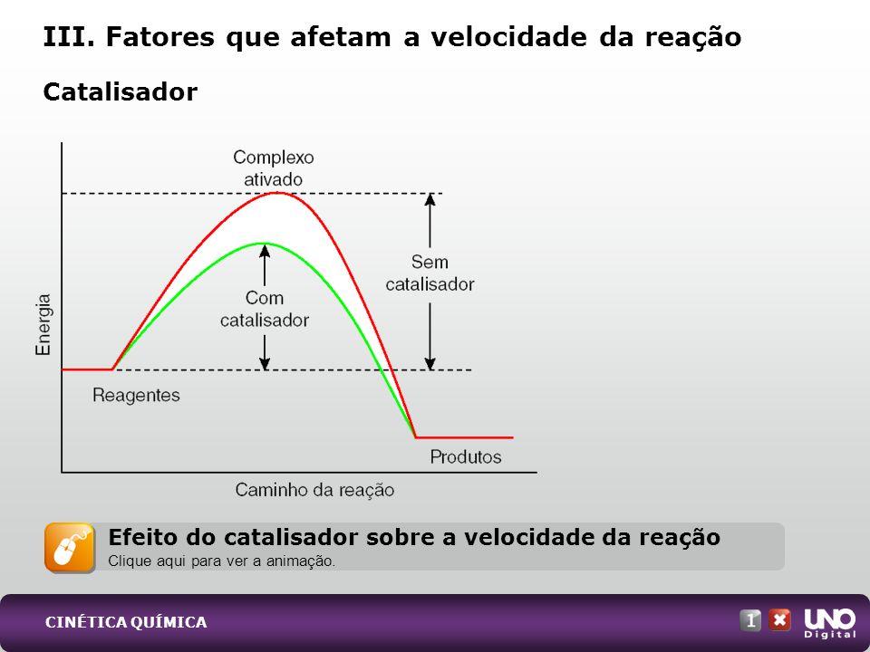 III. Fatores que afetam a velocidade da reação