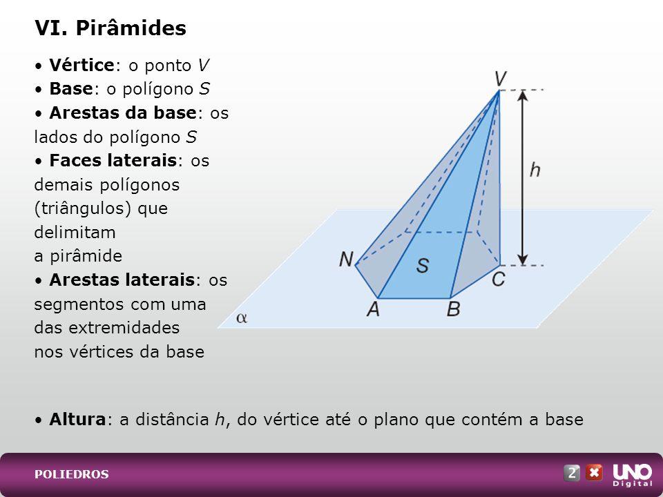 • Altura: a distância h, do vértice até o plano que contém a base