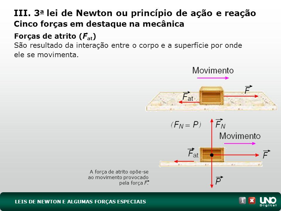 Fis-cad-1-top-3 – 3 ProvaIII. 3a lei de Newton ou princípio de ação e reação Cinco forças em destaque na mecânica.