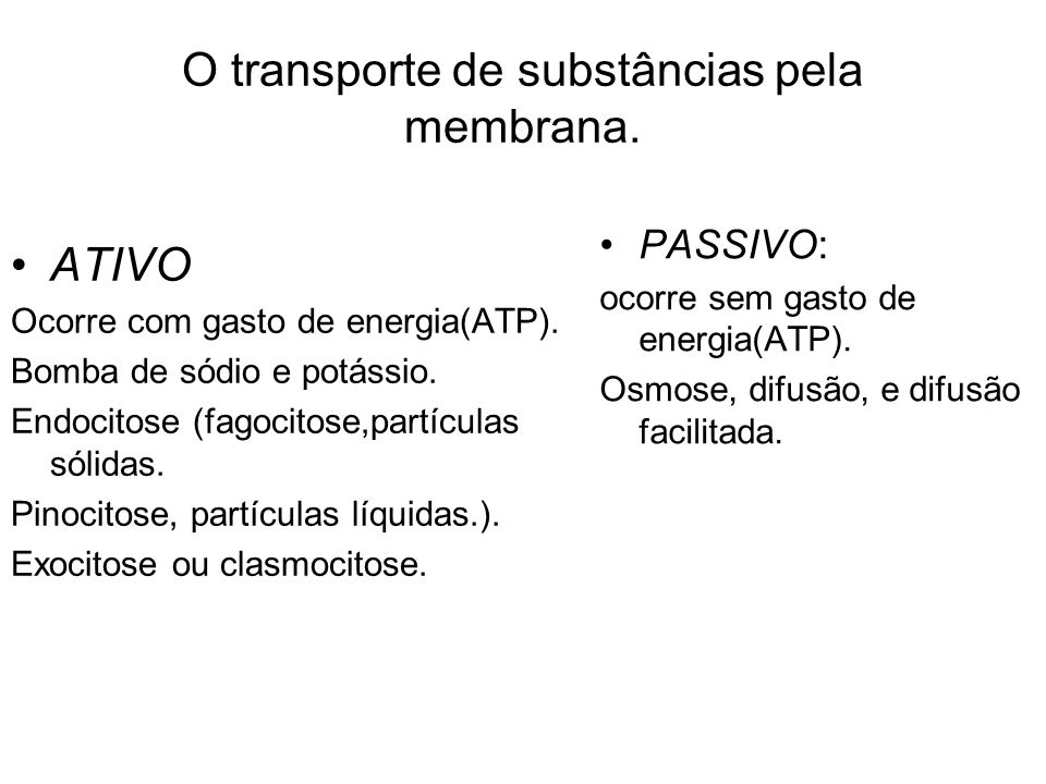 O transporte de substâncias pela membrana.