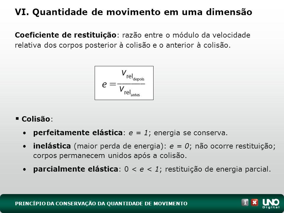 VI. Quantidade de movimento em uma dimensão