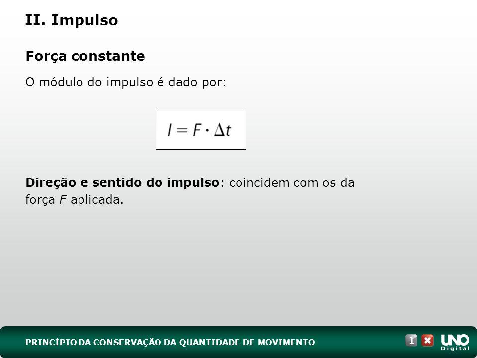 II. Impulso Força constante O módulo do impulso é dado por: