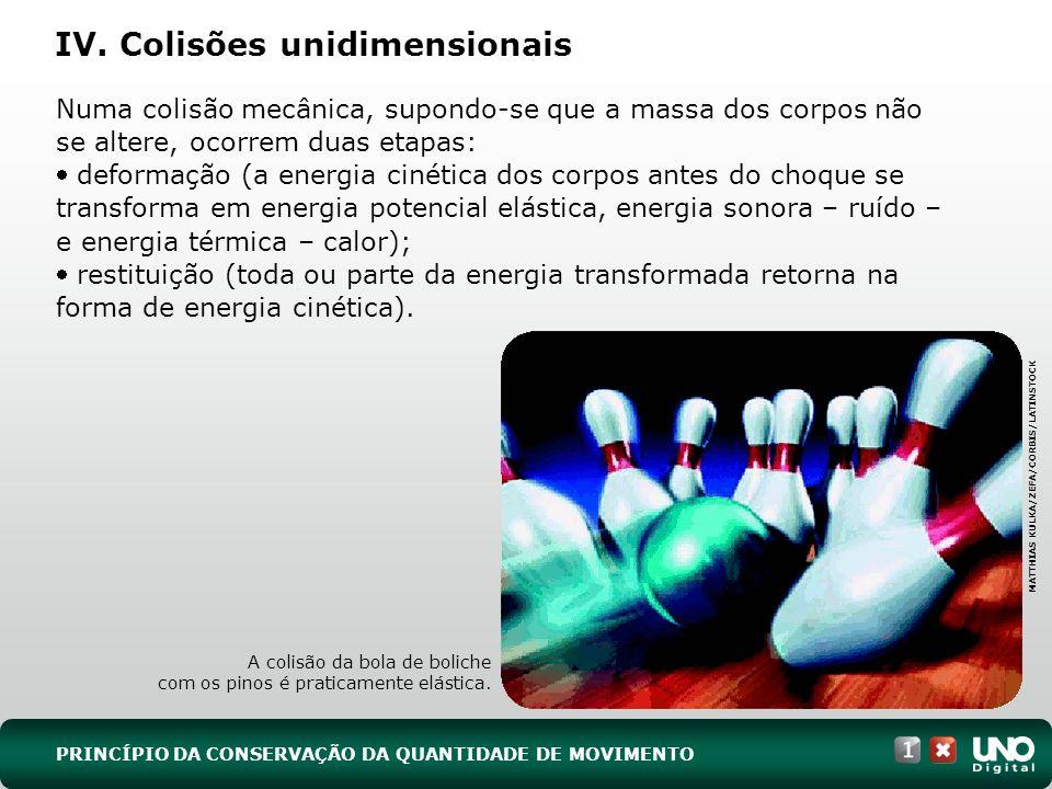 IV. Colisões unidimensionais