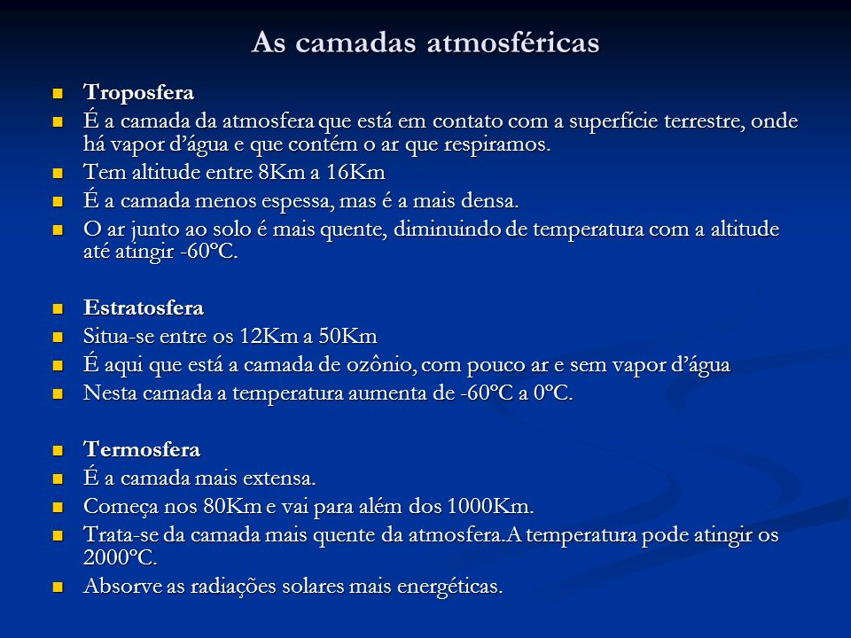 As camadas atmosféricas