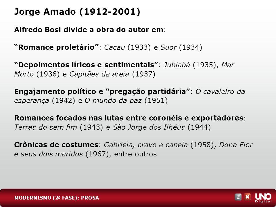 Jorge Amado (1912-2001) Alfredo Bosi divide a obra do autor em: