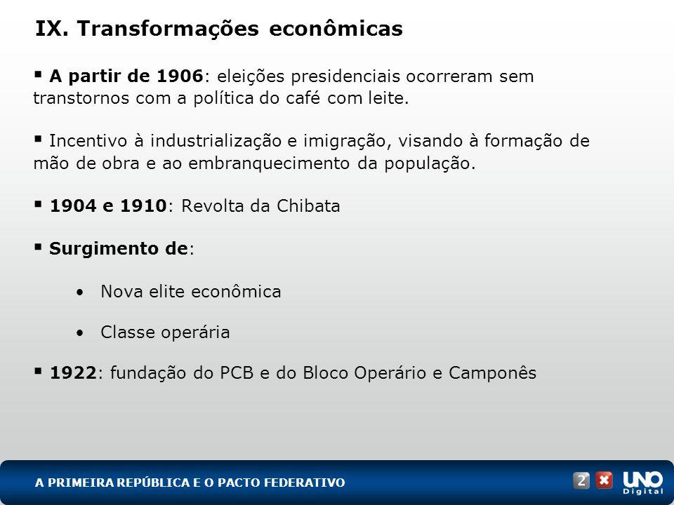 IX. Transformações econômicas