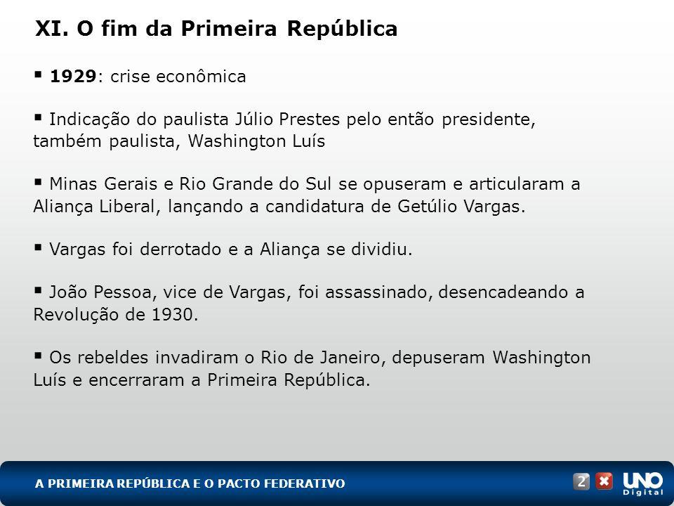 XI. O fim da Primeira República