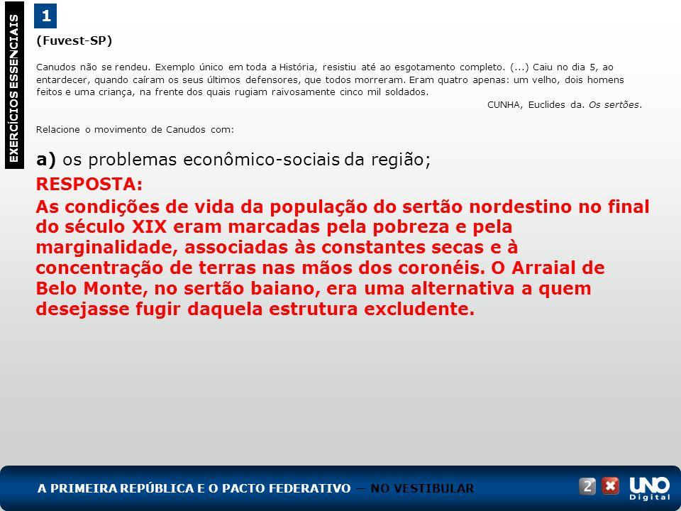 a) os problemas econômico-sociais da região;