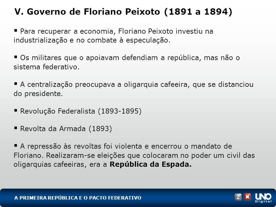 V. Governo de Floriano Peixoto (1891 a 1894)