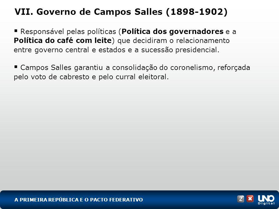 VII. Governo de Campos Salles (1898-1902)