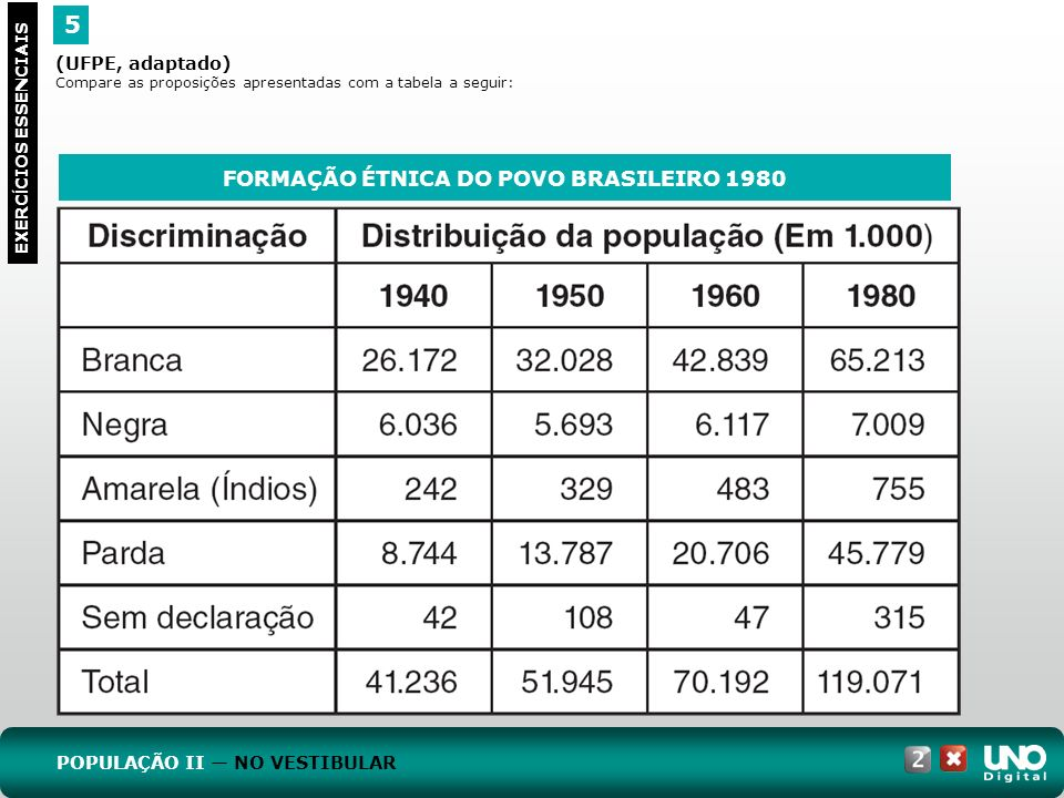 FORMAÇÃO ÉTNICA DO POVO BRASILEIRO 1980