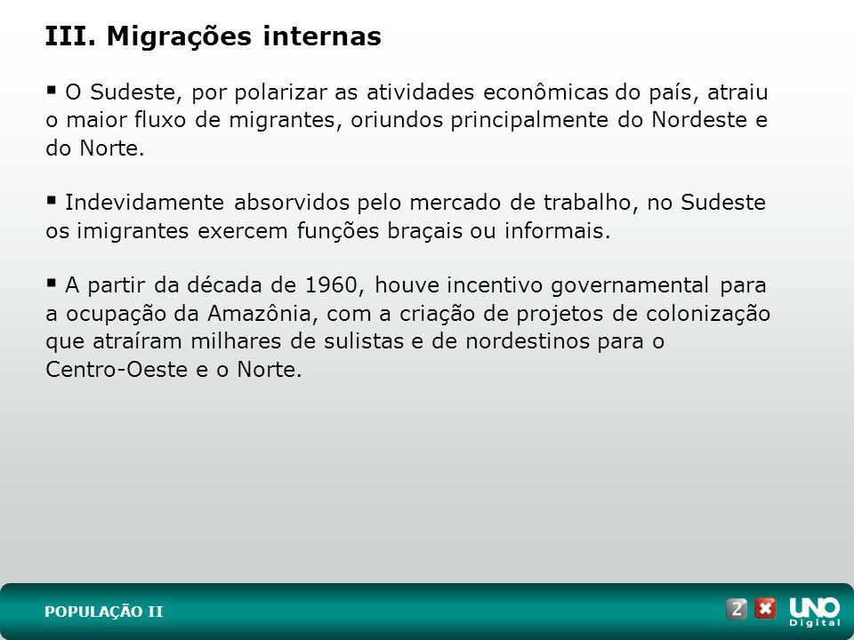 III. Migrações internas