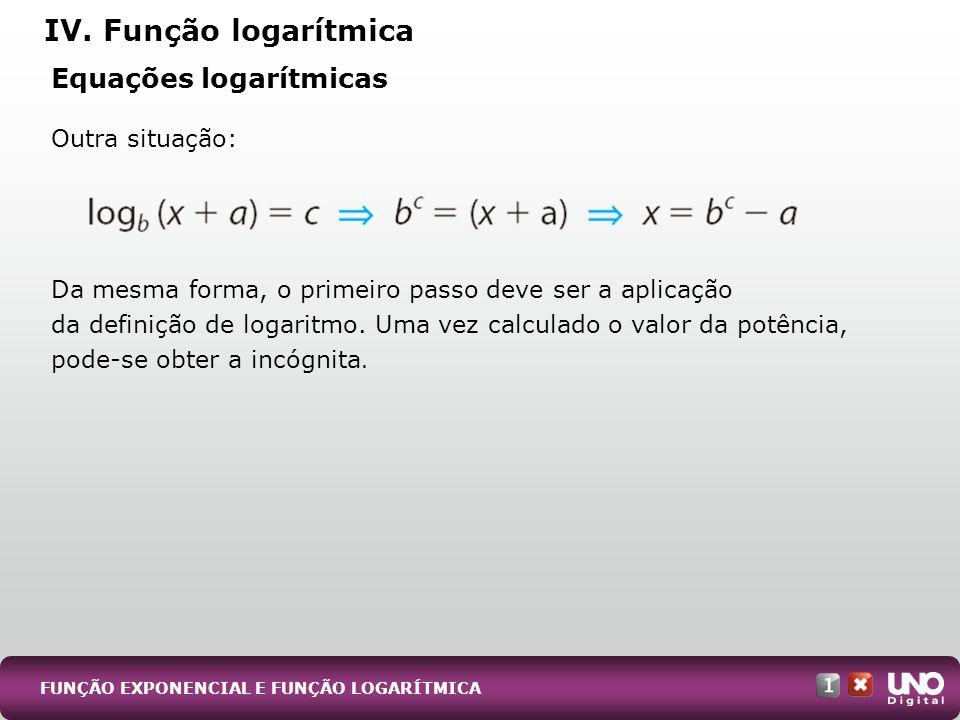 IV. Função logarítmica Equações logarítmicas Outra situação: