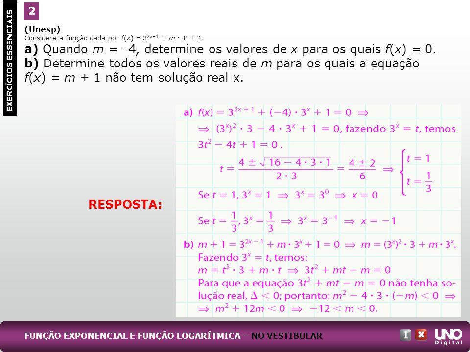 a) Quando m = 4, determine os valores de x para os quais f(x) = 0.