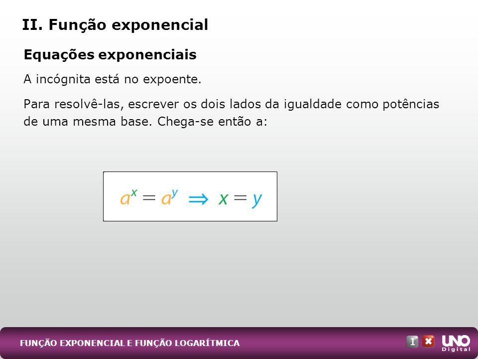 II. Função exponencial Equações exponenciais