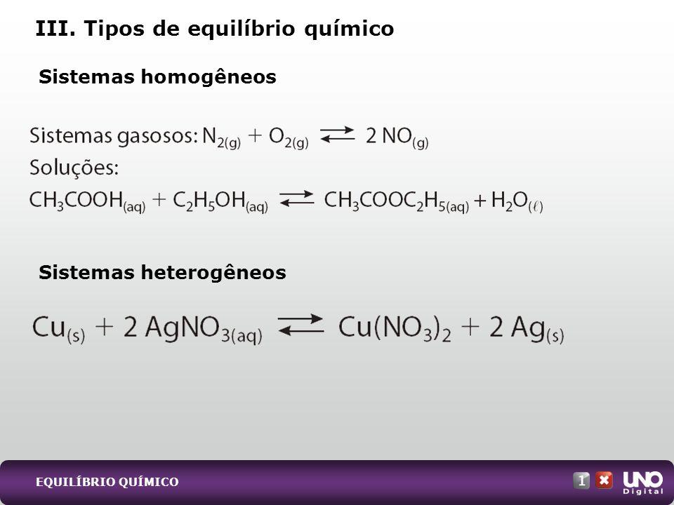 III. Tipos de equilíbrio químico