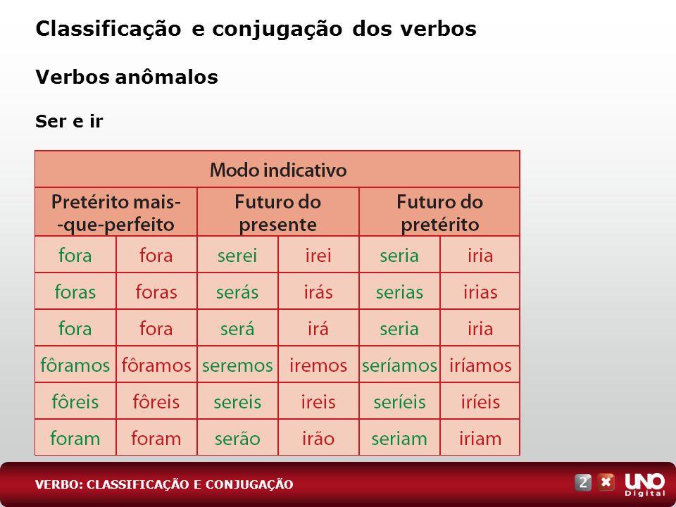 Classificação e conjugação dos verbos